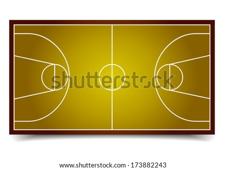 detailed illustration of a basketball court, eps10 vector
