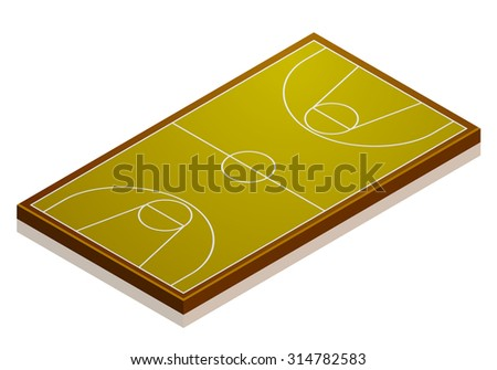 detailed illustration of a basketball court with isometric perspective, eps10 vector