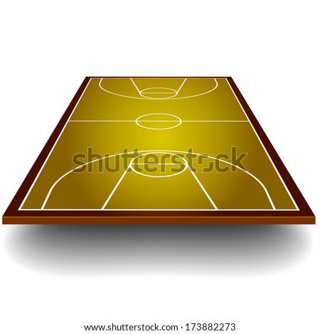 detailed illustration of a basketball court with perspective, eps10 vector