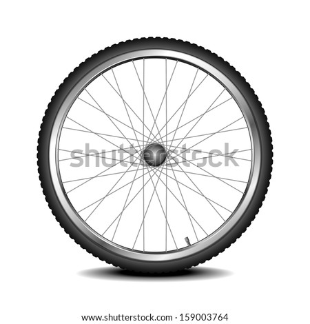 detailed illustration of a bicycle wheel, eps 10 vector - stock vector