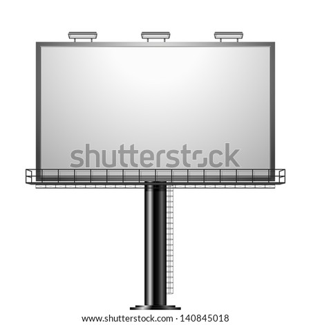 detailed illustration of a black advertising sign isolated on white, eps10 vector - stock vector
