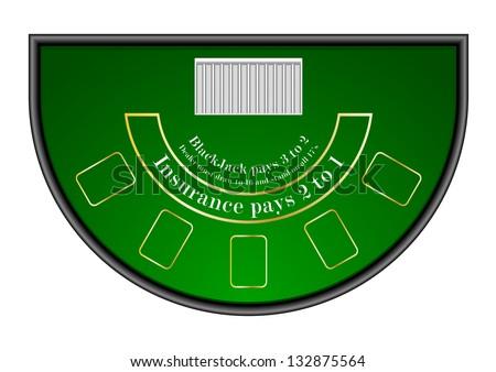 detailed illustration of a black jack gambling table, eps10 vector - stock vector