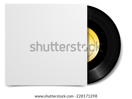 detailed illustration of a black vinyl record with blank cover case, eps10 vector - stock vector