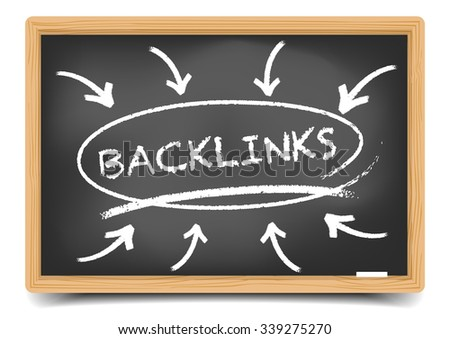 detailed illustration of a blackboard with a Backlinks focus sketch, eps10 vector, gradient mesh included - stock vector