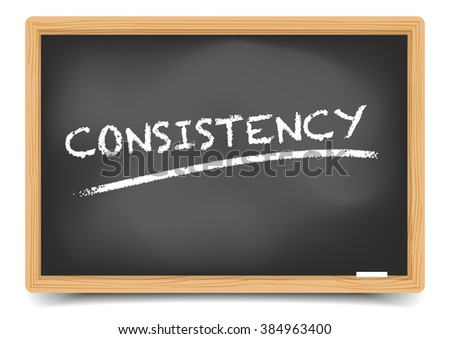 detailed illustration of a blackboard with Consistency text, eps10 vector, gradient mesh included - stock vector