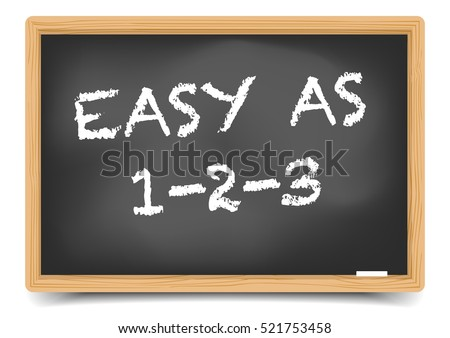 detailed illustration of a blackboard with Easy As 123 text, eps10 vector, gradient mesh included