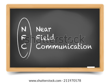 detailed illustration of a blackboard with NFC term explanation, eps10 vector, gradient mesh included