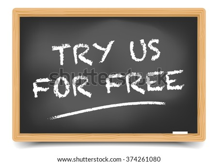 detailed illustration of a blackboard with Try for Free text, eps10 vector, gradient mesh included - stock vector
