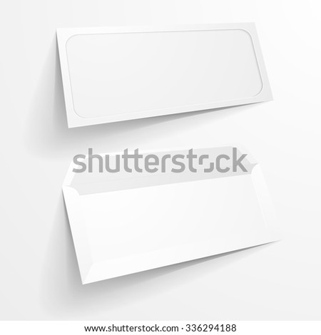 detailed illustration of a blank envelope with large window mockup templates, eps10 vector - stock vector
