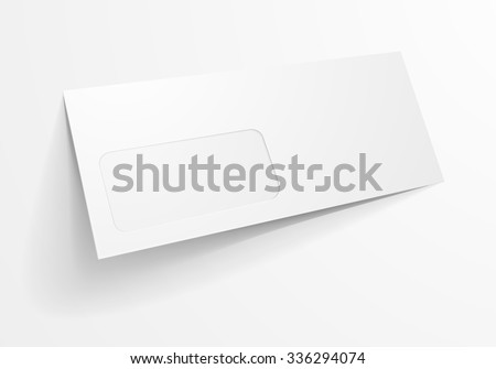 detailed illustration of a blank envelope with window mockup template, eps10 vector - stock vector