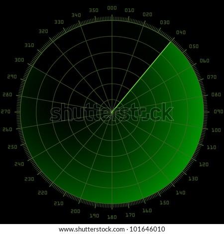 detailed illustration of a blank radar screen - stock vector