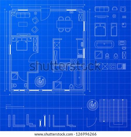 Detailed illustration blueprint floorplan various design vectores en detailed illustration of a blueprint floorplan with various design elements eps 10 malvernweather Image collections