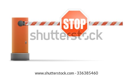 detailed illustration of a car barrier with stop sign, eps10 vector - stock vector