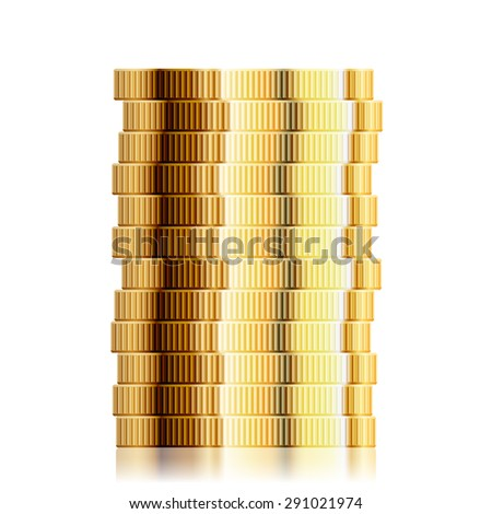 detailed illustration of a coin stack, eps10 vector - stock vector
