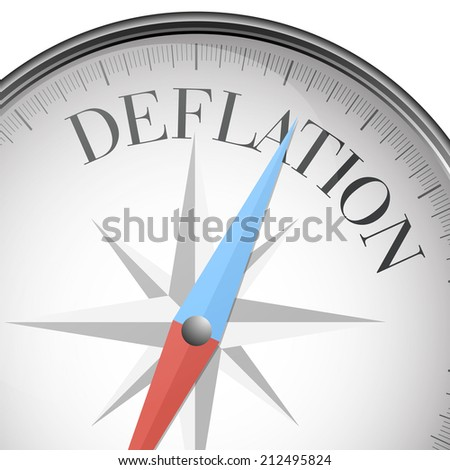 detailed illustration of a compass with deflation text, eps10 vector - stock vector