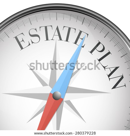 detailed illustration of a compass with estate plan text, eps10 vector - stock vector