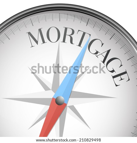detailed illustration of a compass with mortgage text, eps10 vector - stock vector