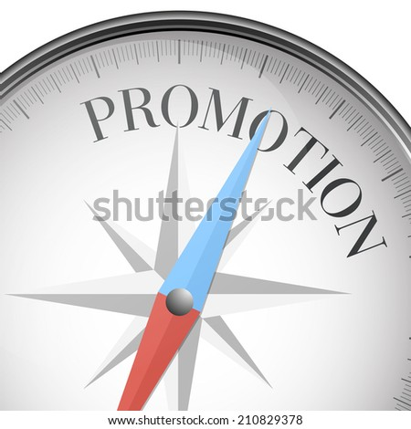 detailed illustration of a compass with promotion text, eps10 vector - stock vector