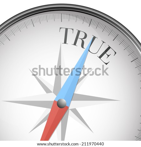 detailed illustration of a compass with true text, eps10 vector - stock vector