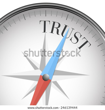 detailed illustration of a compass with trust text, eps10 vector - stock vector