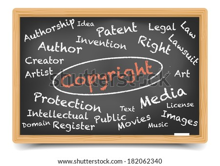 """detailed illustration of a """"copyright"""" wordcloud on a blackboard, eps10 vector, gradient mesh included - stock vector"""