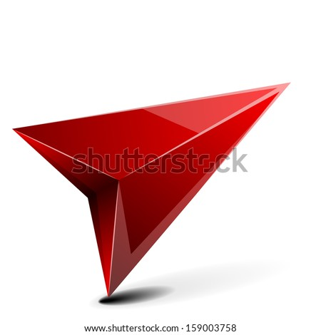 detailed illustration of a 3D gps arrow with shadow isolated on white - stock vector