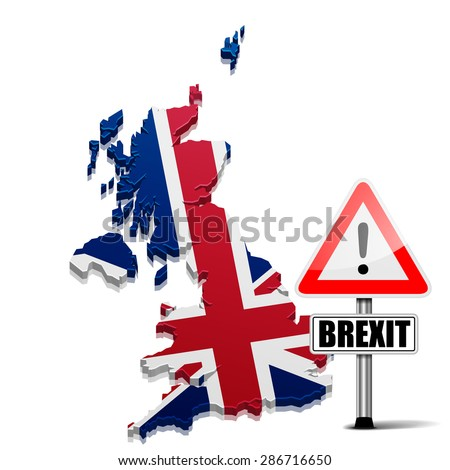 detailed illustration of a 3D Map of Great Britain with Brexit Sign, eps10 vector - stock vector