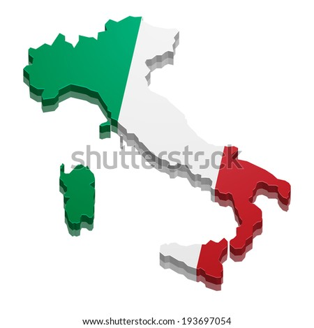 detailed illustration of a 3D Map of Italy, eps10 vector - stock vector