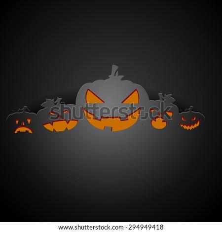 detailed illustration of a dark halloween pumpkin background, eps10 vector - stock vector