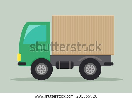 detailed illustration of a delivery truck, eps10 vector - stock vector
