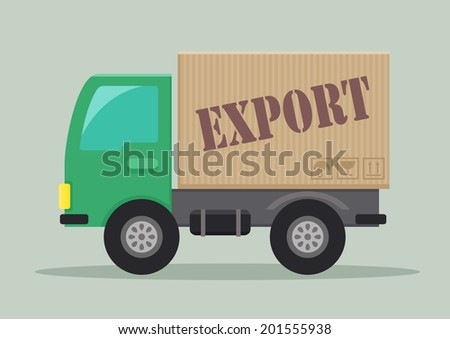 detailed illustration of a delivery truck with export label, eps10 vector