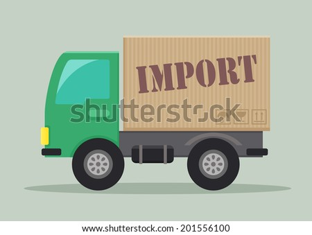 detailed illustration of a delivery truck with import label, eps10 vector