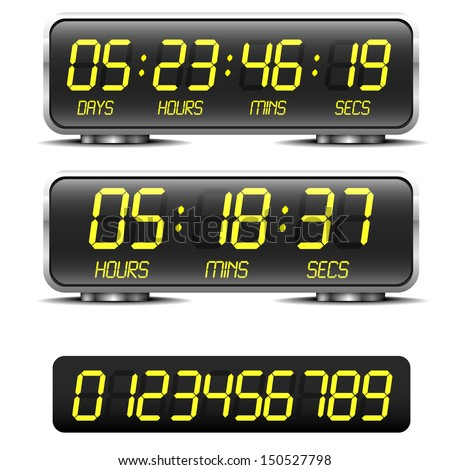 detailed illustration of a digital countdown timer with LED-Digits - stock vector