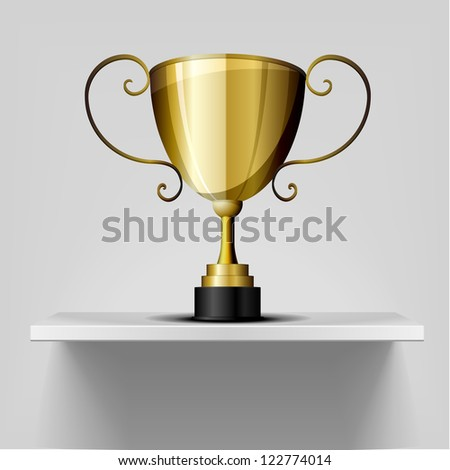 detailed illustration of a golden trophy on a white shelf - stock vector
