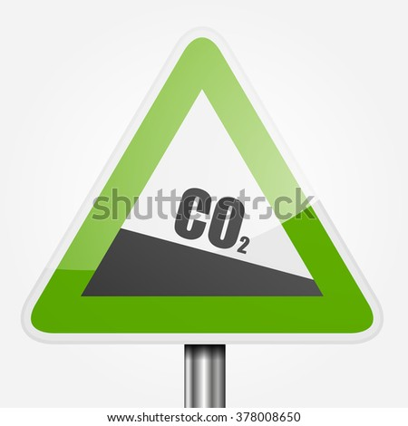 detailed illustration of a green downhill grade sign with co2 text, symbol for decreasing co2 output, eps10 vector - stock vector