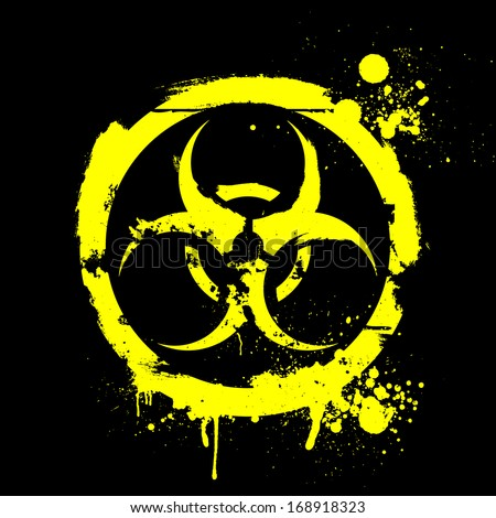 detailed illustration of a grungy biohazard warning sign