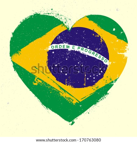 detailed illustration of a grungy heart with brazilian flag, eps 10 vector - stock vector
