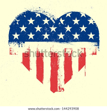 detailed illustration of a grungy heart with patriotic american flag, eps 10 vector - stock vector