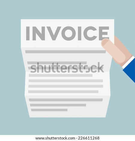 detailed illustration of a hand holding a letter with Invoice headline, eps10 vector - stock vector