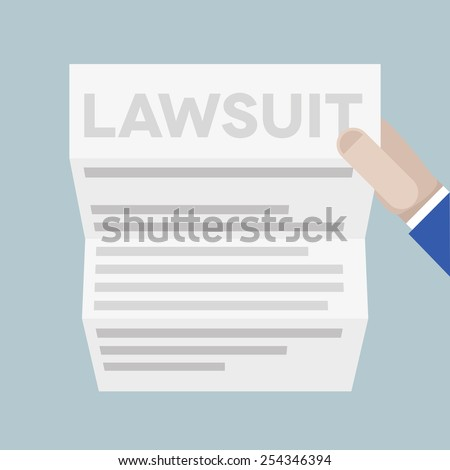 detailed illustration of a hand holding a sheet of paper with lawsuit headline, eps10 vector - stock vector