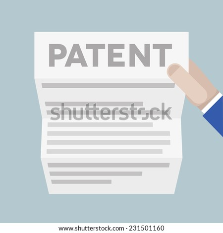 detailed illustration of a hand holding a sheet of paper with Patent headline, eps10 vector - stock vector