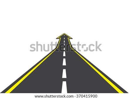 Detailed illustration of a highway road going up as an arrow
