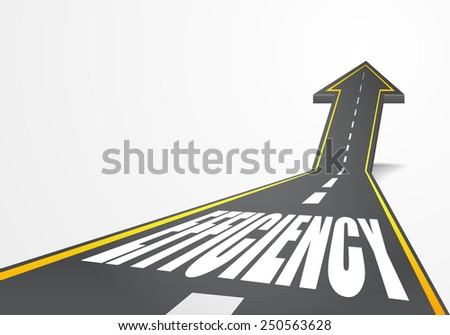 detailed illustration of a highway road going up as an arrow with Efficiency text, eps10 vector - stock vector