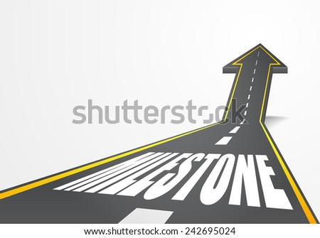 detailed illustration of a highway road going up as an arrow with milestone text, eps10 vector - stock vector