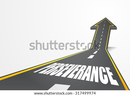 detailed illustration of a highway road going up as an arrow with Perseverance text, eps10 vector - stock vector