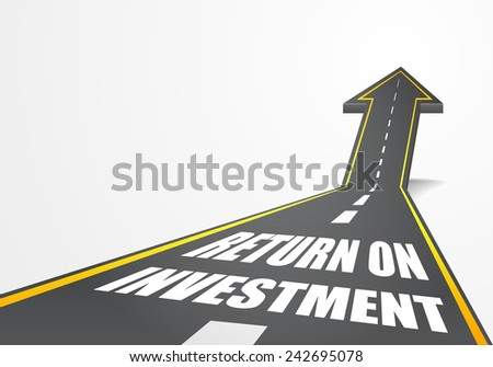 detailed illustration of a highway road going up as an arrow with return on investment text, eps10 vector - stock vector