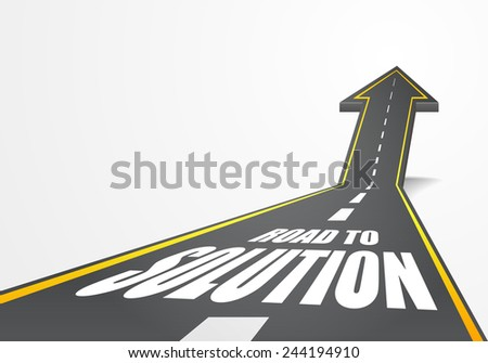 detailed illustration of a highway road going up as an arrow with Road to Solution text, eps10 vector - stock vector