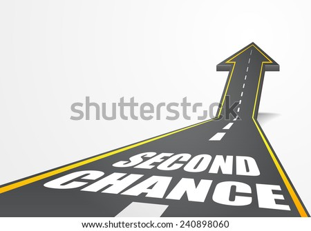 detailed illustration of a highway road going up as an arrow with Second Chance text, eps10 vector - stock vector