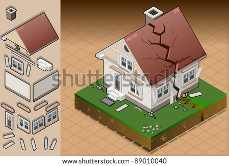 Detailed illustration of a house hit by earthquake. Fully layered/grouped - stock vector