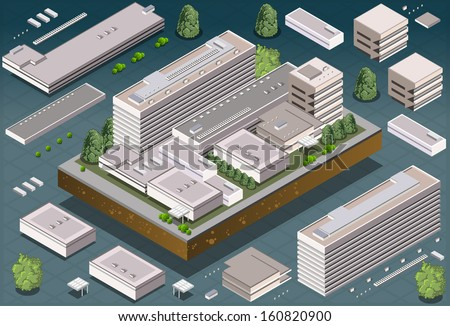 Detailed illustration of a Isometric Building  - stock vector